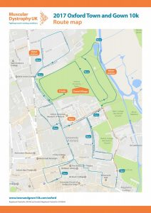 Oxford Town and Gown 10k route map